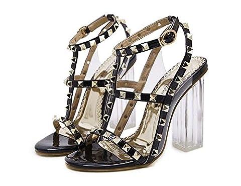 Cristal Talon transparent Chunky Heels Slingbacks Rivet Cross Straps Des sandales Dame Mode Sexe Open Toe Creux Ankel Strap Chaussures habillées Eu Taille 34-40 , black , 36