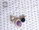 Collar de lactancia estilo Montessori de madera para bebés MORADO y más colores