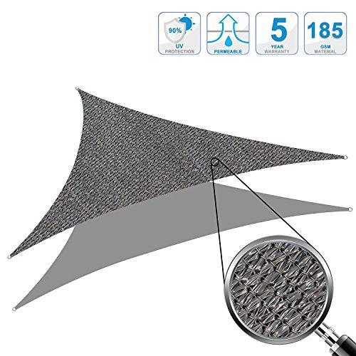 Cool Area 3,5x3,5x4,95m Dreieck Sonnensegel Sonnenschutz Segel, UV Schutz wetterbeständig HDPE...