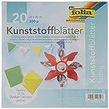 folia 9160/0 - Faltblätter Kunststoff 20 x 20 cm, 150 µ, 20 Blatt sortiert in 5 Farben