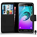 Premium Leather BLACK Wallet Flip Case FOR Samsung Galaxy J3 Case Cover with Mini Touch Stylus Pen Screen Protector & Polishing Cloth Black Cap, (WALLET BLACK)