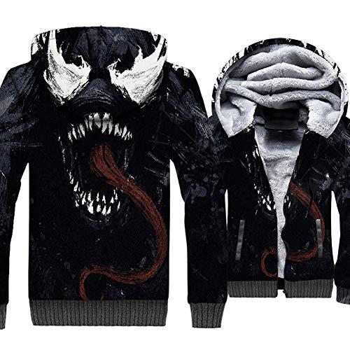 WTZFHF Mode Männer 3D Reißverschluss Hoodie Mit Kapuze Sweatshirt, Cosplay Winter Superheld Anime Design Venom Druck Flanell Sweatshirt