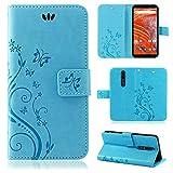 betterfon   Nokia 3.1 Plus Flower Case Handytasche Schutzhülle Blumen Klapptasche Handyhülle Handy Schale für Nokia 3.1 Plus Blau
