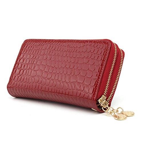Doppel-brieftasche (OURBAG Frauen Lange Doppel Reißverschluss Portemonnaie Beige Rot Schwarz Blau Leder Geldbeutel Elegante Geldbörse Groß Rot)