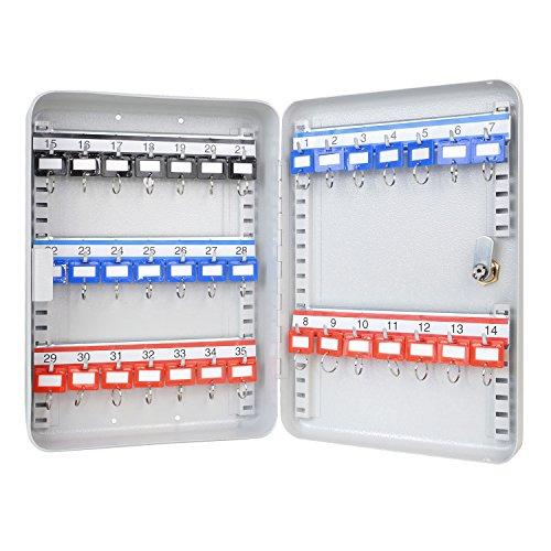 Schlüsselkasten 320 x 230 x 75 mm, 35 Haken, lichtgrau mit verstellbaren Hakenleisten