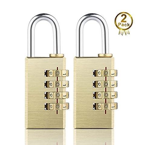 2 Pack 30mm 4 digit Brass Combination Luggage Gargen Gym School Locker Lock Padlock Set - Set Your Own Combination ¡