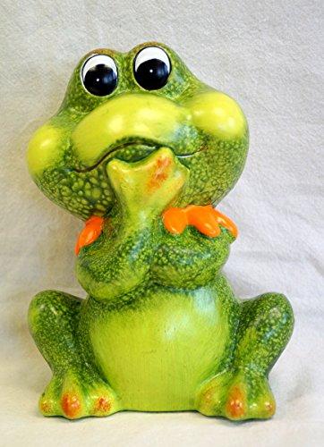 Dekofigur Frosch mit Kragen groß, aus Keramik, GD176 (orange)