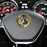 volant de voiture Centre Bague Autocollant de décoration pour golf 6 Golf 7 Polo CC Touran Scirocco Beetle Tiguan Passat (Jaune)