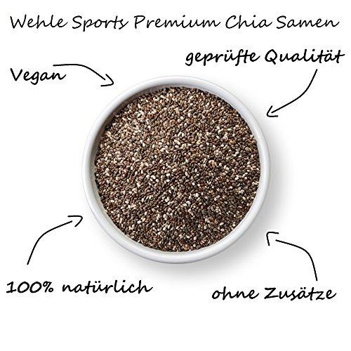 Chia Samen 1 kg – Chiasamen ohne Zusätze (Salvia hispanica) Chia Seed liefert Proteine Omega 3 Ballaststoffe – Vegan, Glutenfrei, Rohkost – Wehle Sports 1000g Beutel