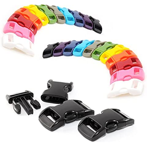 'Cierre Cierres de clip color de Mix–Juego de 3/8(10mm de ancho) de plástico//Baender24-Produkt–/ranuras de cierre para paracord ärmbänder, perros de cuello bandas, mochila, viaje Equipaje etc. Marca Ganzoo, 22 Stück