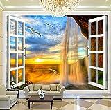 WH-PORP Benutzerdefinierte 3D Fototapete Sonnenuntergang Wasserfall 3D Stereoskopische Fenster Landschaft Große Wandbilder 3D Tapete Wohnzimmer Moderne Wand-Dekor-200cmX140cm