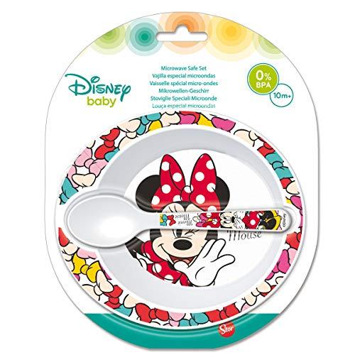 Elemed 45378 Kleinkind 2 Stück, Micro Set (Schüssel und Mikro Pp Löffel) Mit Minnie, mehrfarbig - Kleinkind, , Schüssel-set Essen,