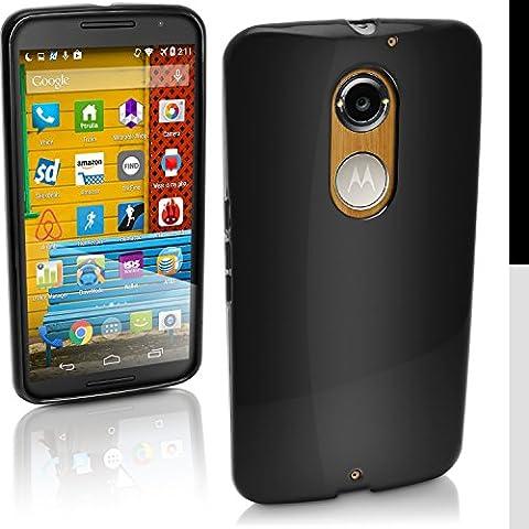 igadgitz Solide Noir Brillant Etui Housse Coque Gel TPU pour Motorola Moto X 2ème Génération 2014 XT1092 Case Cover + Film de Protection