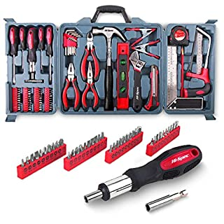 Hi-Spec 71 Piece Home Tool Kit Including Most Reached for Hand Tools for Household DIY - Hacksaw, Screwdrivers, Claw Hammer & More in Storage Box - Great Housewarming Gift Idea