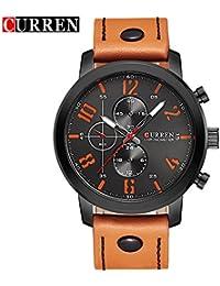 Curren nueva moda Casual reloj de cuarzo los hombres de la gran esfera de color negro resistente al agua reloj de pulsera, 8192G