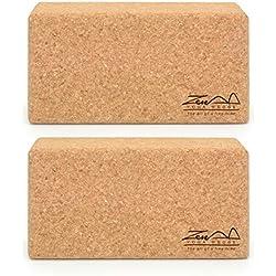 ZenYogaWedge - Juego de 2 Bloques de Yoga de Corcho estándar - Material 100% Natural