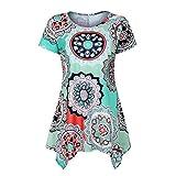 VEMOW Summer Mutter Geschenk Tag Damen Damen Kurzarm Swing Tunika Sommer Floral Flare T-Shirt Top Bluse Shirt Tees Shirt Kleid(Grün, EU-46/CN-XL)