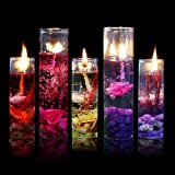 Gemini_mall 1PC Romantic Glass Bottles Ocean Theme Smokeless Jelly Wax Gel Candles for Wedding Birthday Party Decor, Random Colour, 2.7*8cm (Random Color)