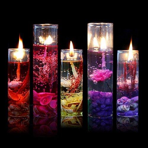 Gemini mall, candele in gel, con bicchiere in vetro, senza fumo, a tema oceano, per matrimoni, compleanni, feste, colore casuale random color