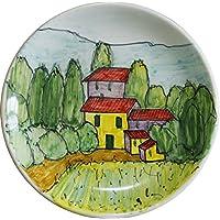 PAESAGGIO TOSCANO-Piatto di ceramica decorata a mano, diametro cm 16,2 alta cm 2,3.MADE in ITALY Toscana Lucca