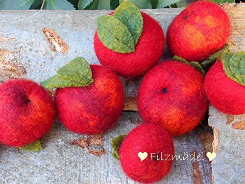 Äpfel rot Filz 4-6 cm, handgefilzt, 3 Stück, wahlweise auch 6 oder 9 Stück im Set -