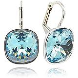 Ohrringe mit Kristallen von Swarovski® - Farbe Silber Aquamarin - Blau - Etui - Made in Germany