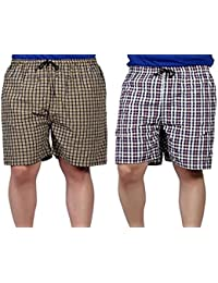 Glamio Men's Cotton Boxer Shorts Assorted Mixed Colour (Pack of 2)