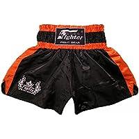 4Fighter Shorts Muay Thai Classic negro-naranja con la 4Fighter logo en la pierna, Talla:XXXL