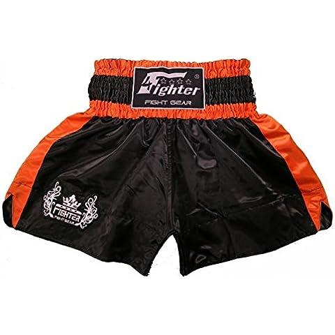 4Fighter Muay Thai Short Classic in nero-arancione con 4fighter logo sulla gamba, Taille:XS - Muay Thai Kickbox Shorts