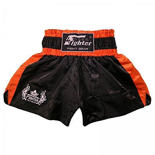 4Fighter Muay Thai Short Classic in nero-arancione con 4fighter logo sulla gamba, Taille:XXS - Muay Thai Kickbox Shorts