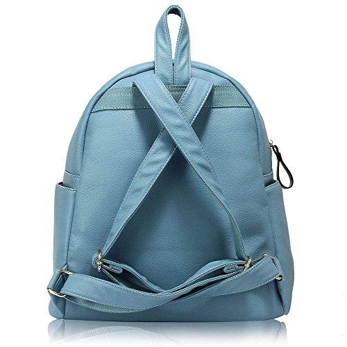 TrendStar Damen Rucksack Umhängetasche Schulrucksäcke Leder Reise Daypacks Tasche Schulranzen A - Blau