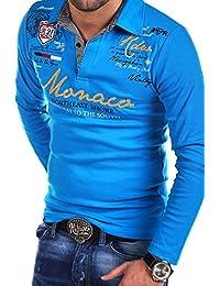 My Trends - R-7211 - Polo à manches longues - inscription « Monaco »