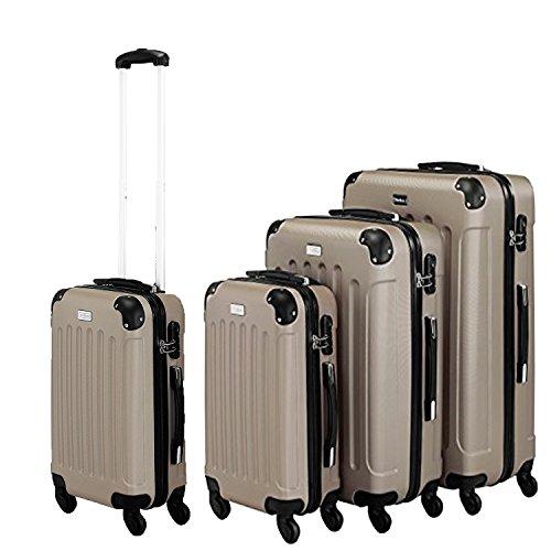 3- teiliges Trolleyset / Hardschalen Reise koffer , 360° Drehbare 4 Doppelrollen, ansprechenden Optik Design, leicht & stabil, mit 3 fach Schloss Beige (Gefüttert-gepäck-set Leicht)