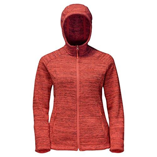 Jack Wolfskin Damen Aquila Hooded Jacket Women Fleecejacke, Grey Haze, S Hot Coral