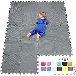 qqpp EVA Puzzle Tapis Mousse Bebe - Idéal pour Les Tapis De Jeux Enfant,18 Dalles(30*30*1cm),Gris.QQC-Lb18N