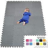 qqpp Tappeto Bambini Puzzle con Certificato CE in Morbido Gomma Eva | Tappeti da Gioco per Bambina | Tatami. 18 Pezzi (30*30*1cm), Grigio. QQC-Lb18N