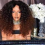 WQWIG Perruques pour Femmes Noires Perruque Courte frisée Afro Kinkys Perruques frisées Femmes Afro-américaine Perruques Perruques Noires à Brunes avec Chapeau de Perruque