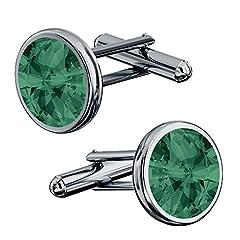 Idea Regalo - Beforya Paris* - Eleganti gemelli in argento 925 rodiato - molti colori - da uomo con Swarovski Elements aghi da polso con scatola PIN/75 e Argento, colore: smeraldo, cod. 7