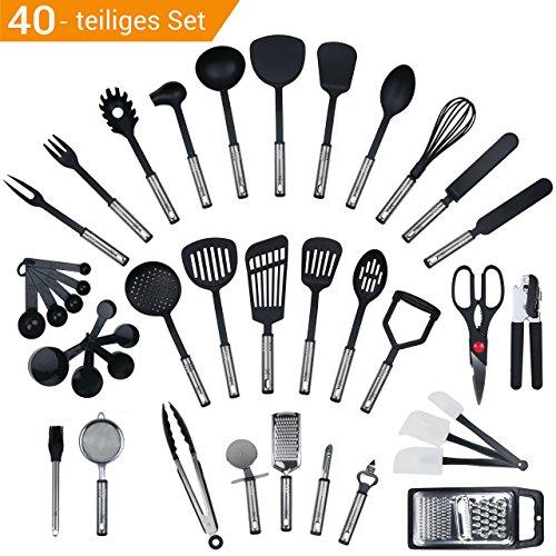 JETZT NEU - 40 teiliges-Set von KRONENKRAFT, Küchenhelfer Set aus Edelstahl und Nylon Kochen Tools einschließlich Turners, Tongs, Löffel, Messbecher, Schneebesen , Dosenöffner, Schäler, Schaber