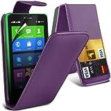 (Purple) Nokia X Custom Designed Stilvolle Accessoires zur Auswahl Schutzmaßnahmen Kunst Credit / Debit-Karten-Leder Flip Case Hülle & LCD-Display Schutzfolie von Hülle Spyrox