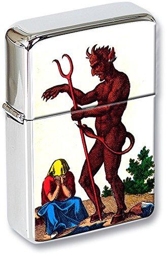 Tarot (Le diable, The Devil) Mechero con tapa en una Regalo Estaño
