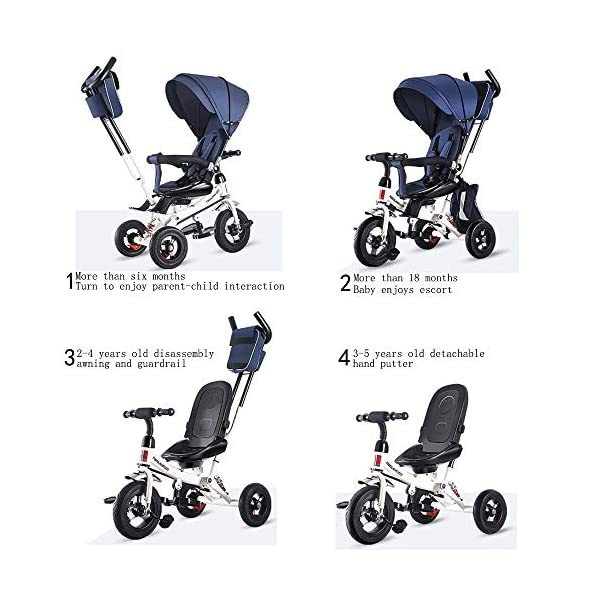 YUANFANG 4 in 1 Toddler 3 Wheelers Kids Tricycle with Detachable Canopy Pushing Handle Ride-on Trike Baby Carriage Trolley with Cup Holder,Pink YUANFANG Suitable for children from 6 months to 6 years.4 in 1 design, 4 stages to grow with your child, Removable canopy, 180° rotating guardrail and Five-point seat belt, Removable and adjustable parent handle,Widening wear-resistant explosion-proof titanium empty wheel, Adjustable seat and foldable footrest, Easy grip handles, Detachable storage bag.Material: high quality carbon steel and encrypted oxford cloth Stage 1 - More than 6 months, rotate direction, enjoy parent-child interaction,Initial stage tricycle using the fold away foot rests, Safety fence, baby seat harness and control handle for parents. Stage 2 - More than 18 months, the baby enjoys escort. Parents push and control the trike. 6