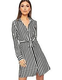 6310256dd408 WearAll - Damen Gestreift Lang Hülle Satin Kurz Hemd Kleid Damen Belted  Schaltfläche Top - 36