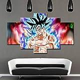 ZEMER Stampa EQuadrisu Tela 5Pcs Arte Muraria Poster di Super Saiyan Dipingere L'Immagine Dragon Ball Immagini Anime per La Decorazione della Casa Decorazione Regalo (Senza Cornice),L