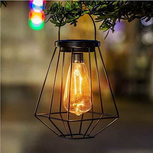 FADDR Metall Solar hängende Laterne mit Wolfram-Glühbirne, Vintage Eisendraht Design Outdoor Garten Licht für Rasen Terrasse Hof Cafe Ornamente(schwarz) (Hängende Metall-laterne)