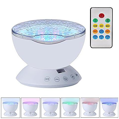 Finoki Projecteur Vagues Océan - Lampe de Projection de Rotative Marine contrôle Lampe de Scène Pour les enfant Cadeau Anniversaire Créatif (blanc)