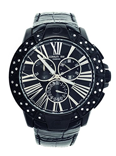 Cerruti 1881 Diamond CRWDM007 V222Q cronografo 40 mm nero in ceramica 36 diamanti cinturino in pelle
