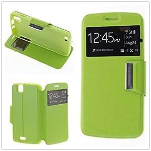 MISEMIYA - Coque Étui pour KAZAM Trooper 450 - Étui + Protecteur Verre Trempé, COVER-VIEW avec support,Green
