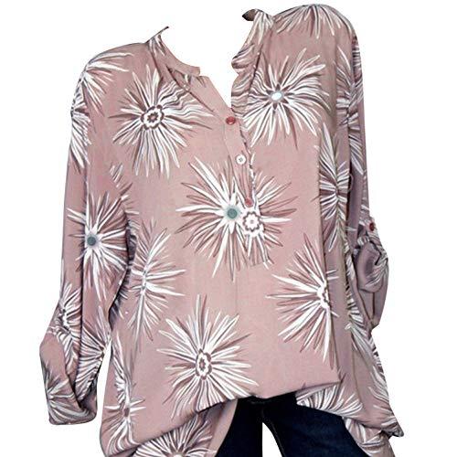 (GJKK Bluse Damen Herbst Shirt Reizvoller Übergröße Half Ärmel Federdruck V-Ausschnitt Sweatshirt Langarmshirt Tops Oberteil Hemd T-Shirts Tunika(S-5XL))