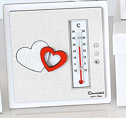 Termometro cuori rossi in legno misura 13x13 cm | termometro ambiente bomboniere per matrimonio nascita comunione e idee regalo casa e coppia